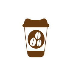 Brown glass disposable for hot drinks with lid vector
