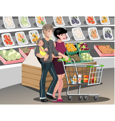 family in supermarket vector image