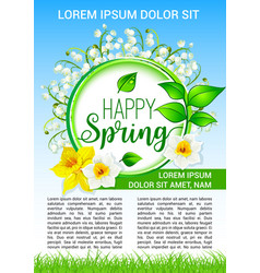 Spring flowers poster of daffodils bloom vector