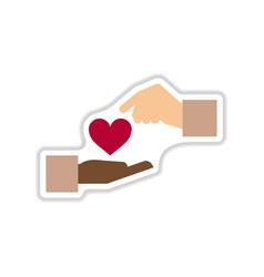 Paper sticker on white background hands heart vector