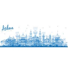outline lisbon skyline with blue buildings vector image