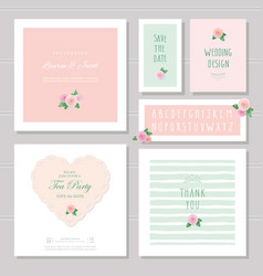Wedding card templates set decorated with roses vector