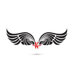 K-letter sign and angel wingsmonogram wing logo vector