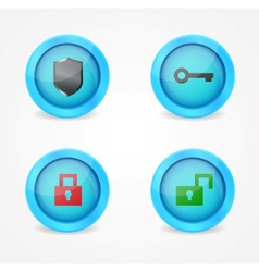 Set of glossy security icons vector