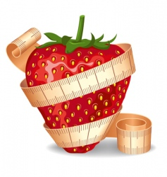 Strawberry in a measuring tape vector