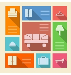 Colored icons for hotel with place for text vector