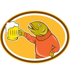 Trout fish holding beer mug oval cartoon vector