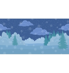 Christmas landscape night winter forest vector