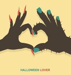 Monster hands make heart shape vector