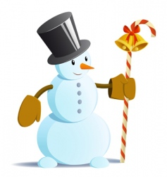 Snowman in black tall hat vector