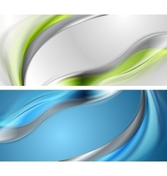 Bright blue and green wavy banners vector image