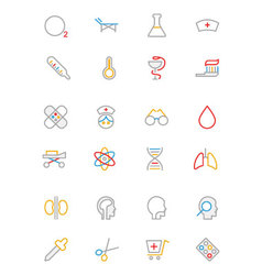 Medical colored outline icons 2 vector