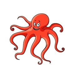 Cartoon red ocean octopus character vector