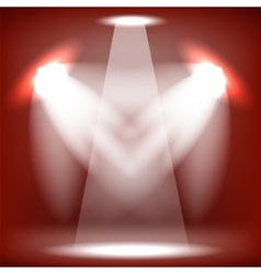 Stage spotlight red background vector