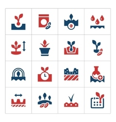 Set color icons of seed and seedling vector