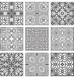 Set of black and white geometric seamless patterns vector