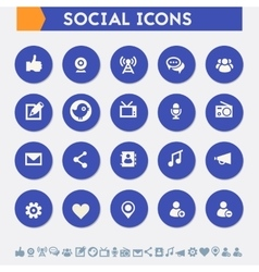 Social icon set material circle buttons vector