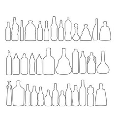 Alcohol bottles set of black line icons vector