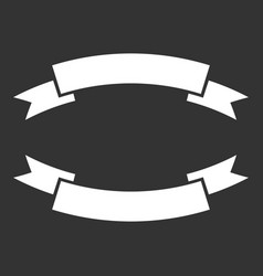 Badge icon ribbon in flat style on black vector