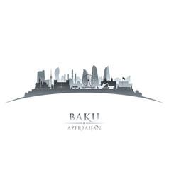 baku azerbaijan city skyline silhouette white vector image vector image