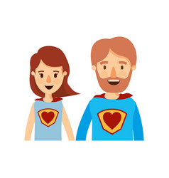 Colorful caricature half body couple parents super vector