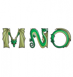 dragons Alphabet mno vector image
