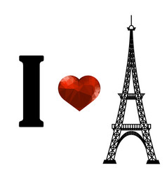 Eiffel tower silhouette and red polygonal heart vector