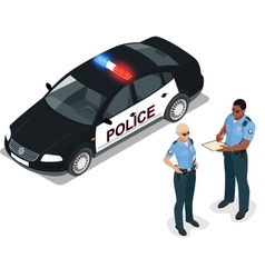 Flat 3d isometric police car and vector