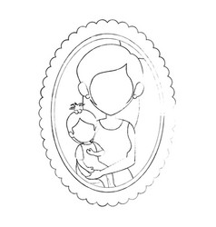 Frame with family picture vector