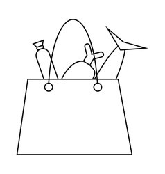 Grocery bag with fish and meat icon outline style vector