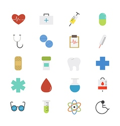 Healthcare and medical flat icons color vector