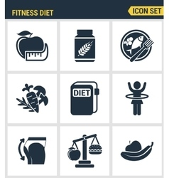 Icons set premium quality of fitness diet promises vector