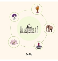 Indian colored hand drawn doodle icons set vector