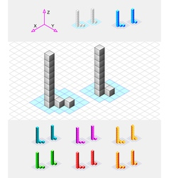 Isometric font from the cubes Letter L vector image vector image