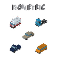 Isometric transport set of first-aid suv truck vector
