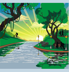 landscape - people in the park by the river vector image vector image