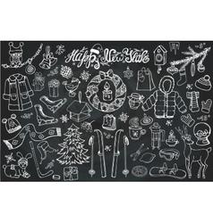 New year season doodle iconssymbolslinear chalk vector
