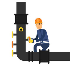 oilman character in a blue uniform working on an vector image