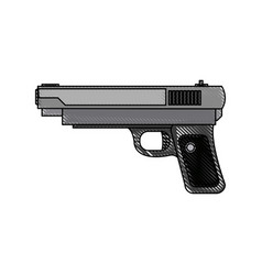 Powerful pistol gun handgun game weapon vector