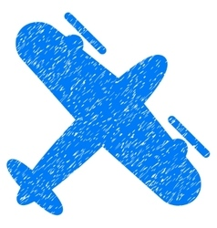Propeller aircraft grainy texture icon vector