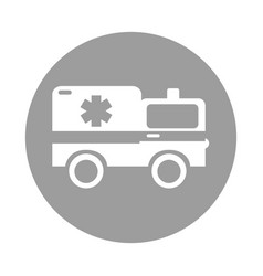 Round icon ambulance car cartoon vector
