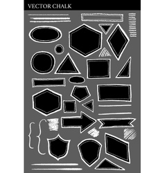 Set of Chalk Shapes Grunge Design Elements vector image