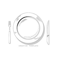 Set sketch cutlery Plate fork and knife Template vector image vector image