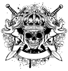 Skull in crown lions and crossed swords vector