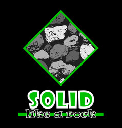 Solid like a rock abstract green style flat logo vector