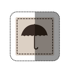 sticker monochrome square with umbrella vector image
