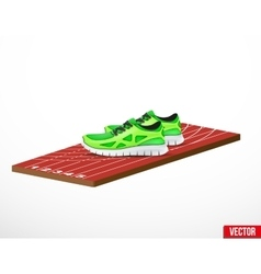 Symbol of a run shoes and athletic track vector