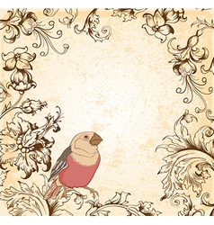 Victorian floral background with bird vector image vector image