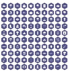 100 thunderstorm icons hexagon purple vector