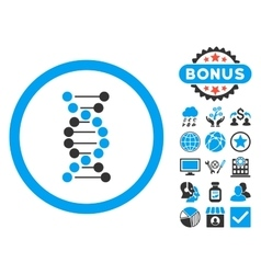 Dna spiral flat icon with bonus vector